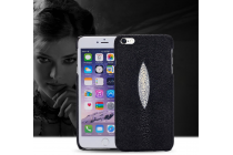 Фирменная роскошная эксклюзивная накладка из натуральной рыбьей кожи СКАТА (с жемчужным блеском) чёрный для HTC Bolt/HTC Desire 10. Только в нашем магазине. Количество ограничено