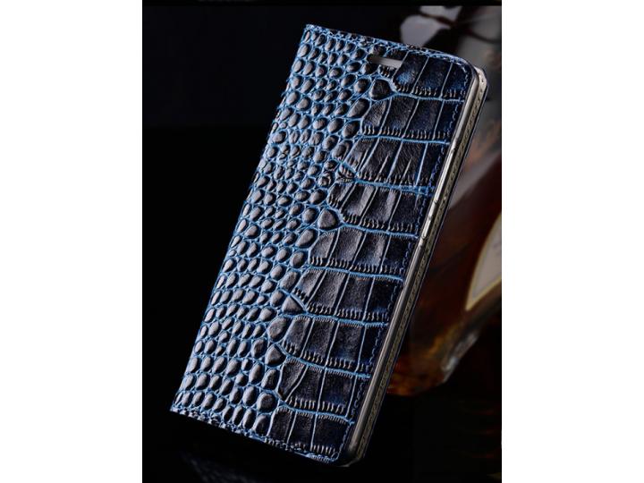 Фирменный роскошный эксклюзивный чехол с фактурной прошивкой рельефа кожи крокодила и визитницей синий для HTC..