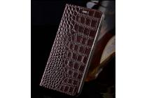 Фирменный роскошный эксклюзивный чехол с фактурной прошивкой рельефа кожи крокодила и визитницей коричневый для HTC Bolt/HTC Desire 10. Только в нашем магазине. Количество ограничено