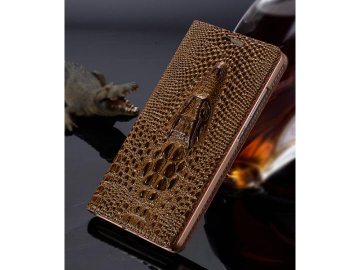 Фирменный роскошный эксклюзивный чехол с объёмным 3D изображением кожи крокодила коричневый для HTC Bolt/HTC D..