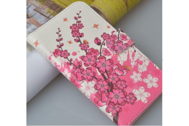 """Фирменный уникальный необычный чехол-книжка для HTC Desire 200  """"тематика цветы"""""""