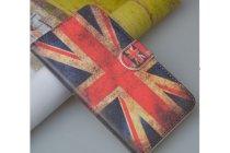 """Фирменный уникальный необычный чехол-книжка для HTC Desire 200  """"тематика британский флаг"""""""