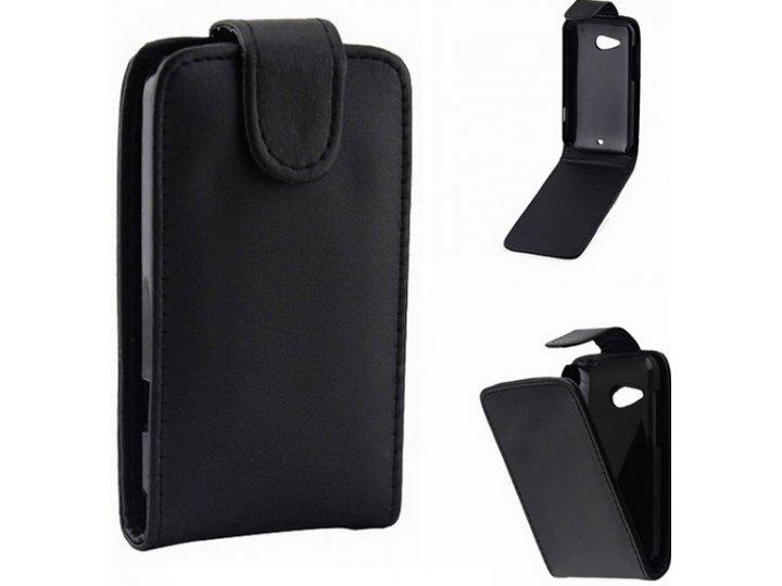 Фирменный оригинальный вертикальный откидной чехол-флип для HTC Desire 200 черный кожаный..