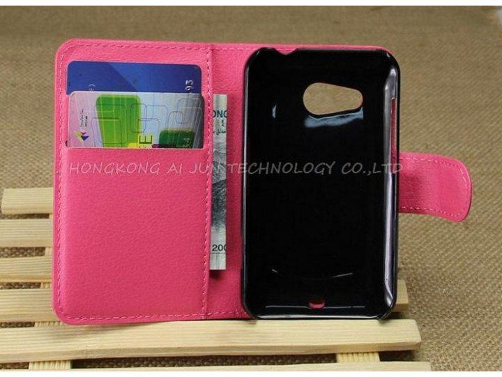 Фирменный чехол-книжка из качественной импортной кожи с подставкой застёжкой и визитницей для HTC Desire 200 м..
