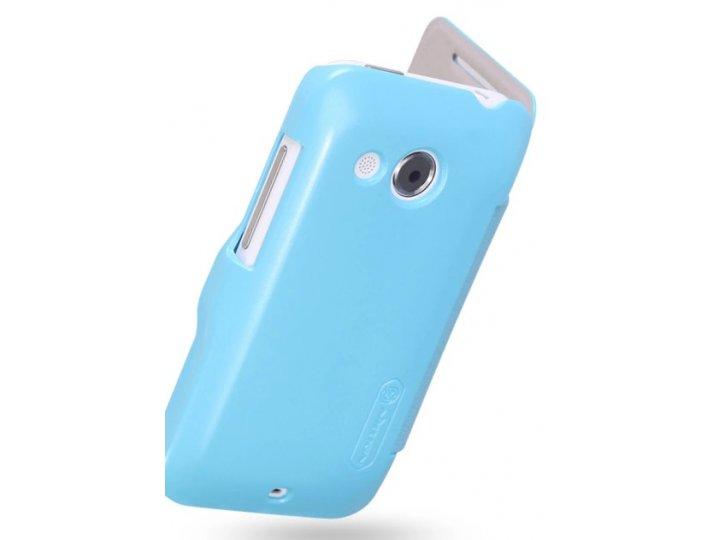 Фирменный чехол-книжка из качественной импортной кожи с подставкой на HTC Desire 200 голубой..