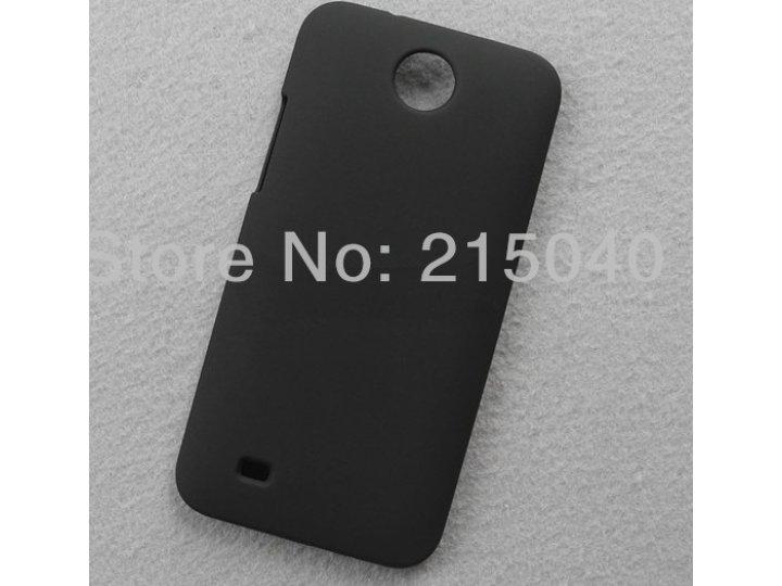 Фирменная задняя панель-крышка-накладка из тончайшего и прочного пластика на HTC Desire 300 черная..