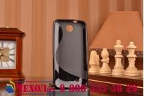Фирменная ультра-тонкая полимерная из мягкого качественного силикона задняя панель-чехол-накладка для HTC Desire 300 черная