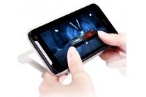 Фирменный оригинальный чехол-книжка для HTC Desire 310 Dual Sim белый кожаный с окошком для входящих вызовов