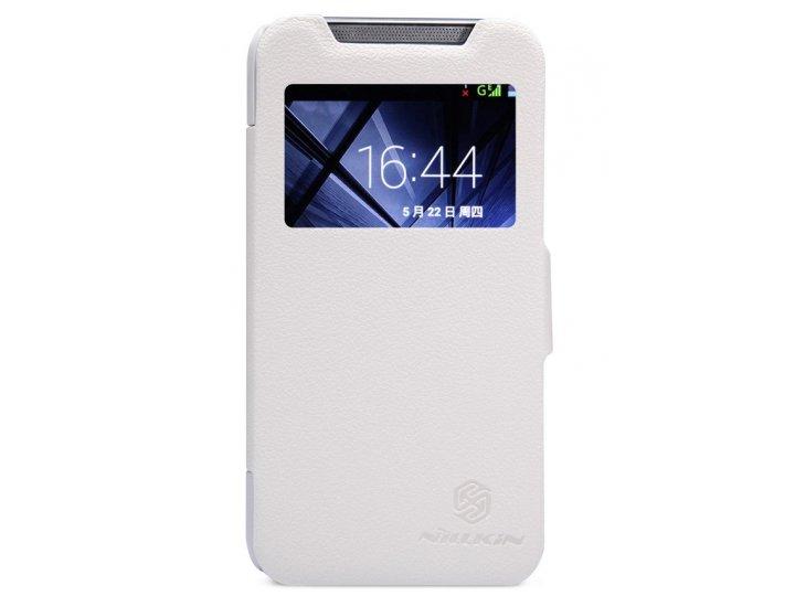Фирменный оригинальный чехол-книжка для HTC Desire 310 Dual Sim белый кожаный с окошком для входящих вызовов..