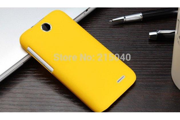 Фирменная задняя панель-крышка-накладка из тончайшего и прочного пластика для HTC Desire 310 Dual Sim желтая