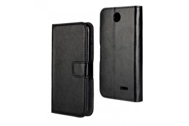 Фирменный чехол-книжка из качественной импортной кожи с подставкой застёжкой и визитницей для HTC Desire 310 черный