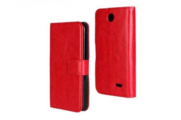 Фирменный чехол-книжка из качественной импортной кожи с подставкой застёжкой и визитницей для HTC Desire 310 Dual Sim красный