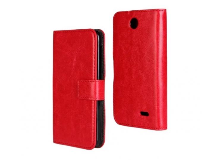 Фирменный чехол-книжка из качественной импортной кожи с подставкой застёжкой и визитницей для HTC Desire 310 D..