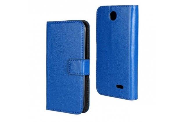Фирменный чехол-книжка из качественной импортной кожи с подставкой застёжкой и визитницей для HTC Desire 310 Dual Sim синий
