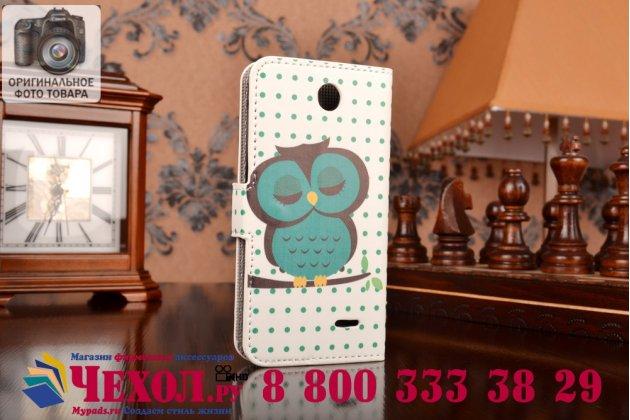 """Фирменный уникальный необычный чехол-книжка для HTC Desire 310 Dual Sim """"тематика Сова"""""""