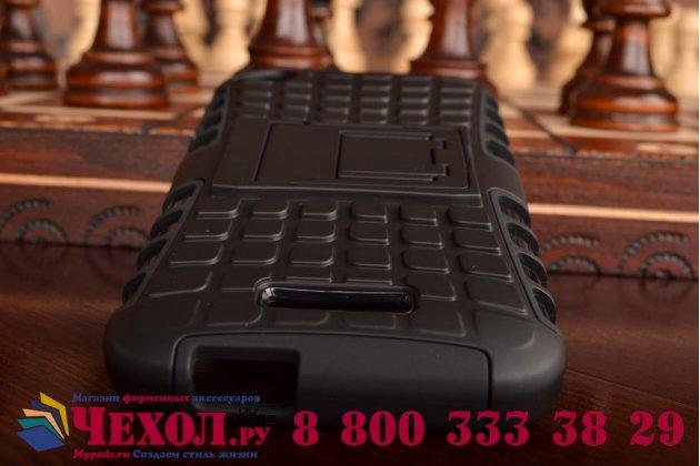 Противоударный усиленный ударопрочный фирменный чехол-бампер-пенал для HTC Desire 320 черный