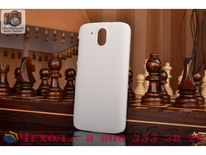 Фирменная задняя панель-крышка-накладка из тончайшего и прочного пластика для HTC Desire 326G Dual Sim белая..