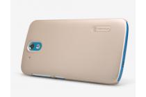Фирменная задняя панель-крышка-накладка из тончайшего и прочного пластика для  HTC Desire 326G Dual Sim  золотая