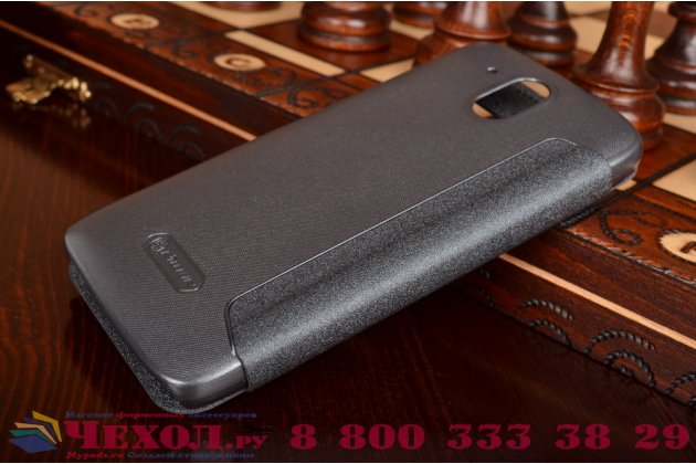 Фирменный чехол-книжка для HTC Desire 326G Dual Sim черный с окошком для входящих вызовов водоотталкивающий