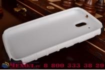 Противоударный усиленный ударопрочный фирменный чехол-бампер-пенал для HTC Desire 326G Dual Sim белый