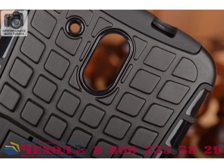 Противоударный усиленный ударопрочный фирменный чехол-бампер-пенал для HTC Desire 326G Dual Sim черный..