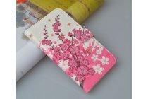 """Фирменный уникальный необычный чехол-книжка для HTC Desire 400 """"тематика цветок Сакуры"""""""