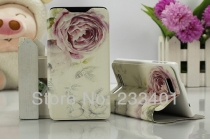 """Фирменный уникальный необычный чехол-книжка для HTC Desire 400  """"тематика цветы"""""""