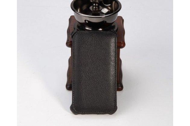 """Фирменный оригинальный вертикальный откидной чехол-флип для HTC Desire 400 Dual Sim черный из качественной кожи """"Deluxe"""""""