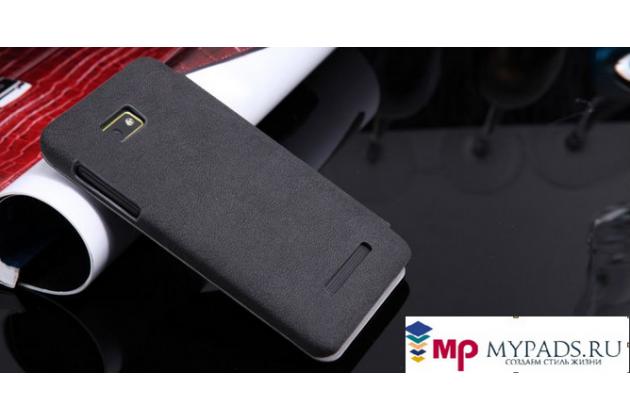Фирменный чехол-книжка из качественной импортной кожи с подставкой для HTC Desire 400 черный
