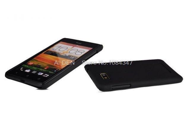 Фирменная задняя панель-крышка-накладка из тончайшего и прочного пластика для HTC Desire 400 Dual Sim черная
