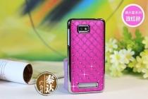 Фирменная блестящая пластиковая задняя панель-крышка-накладка на HTC Desire 400 Dual Sim фиолетовая