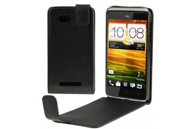 Фирменный вертикальный откидной чехол-флип для HTC Desire 400 Dual Sim (T528w) черный кожаный