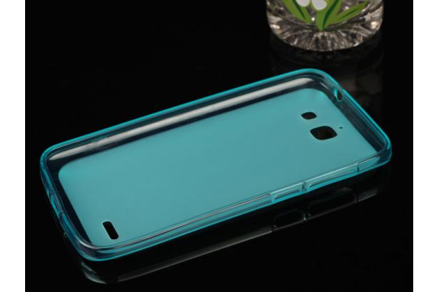 Фирменная ультра тонкая силиконовая задняя панель-крышка-накладка на HTC Desire 400 Dual Sim голубая