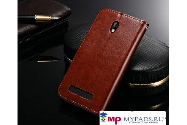 Фирменный оригинальный чехол-книжка для HTC Desire 500 Dual Sim коричневый кожаный высококачественный