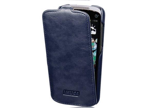 Фирменный вертикальный откидной чехол-флип для HTC Desire 500 Dual Sim синий кожаный тонкий