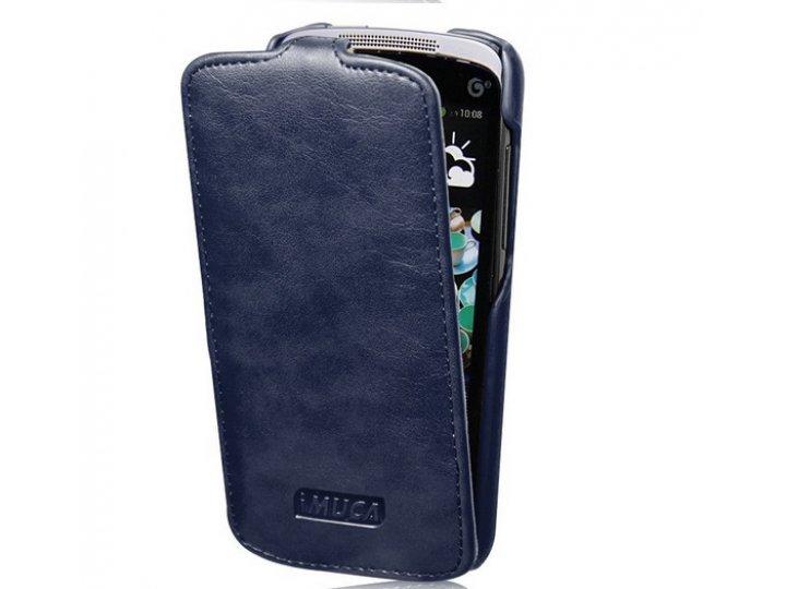 Фирменный вертикальный откидной чехол-флип для HTC Desire 500 Dual Sim синий кожаный тонкий..