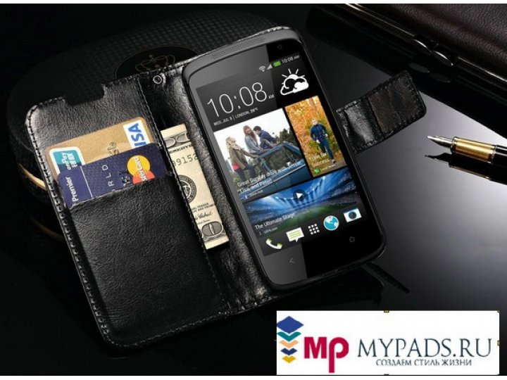 Фирменный оригинальный чехол-книжка для HTC Desire 500 Dual Sim черный кожаный высококачественный ..