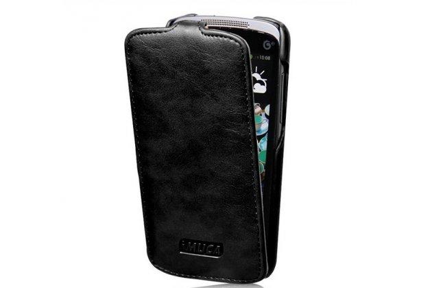 Фирменный вертикальный откидной чехол-флип для HTC Desire 500 Dual Sim черный кожаный тонкий