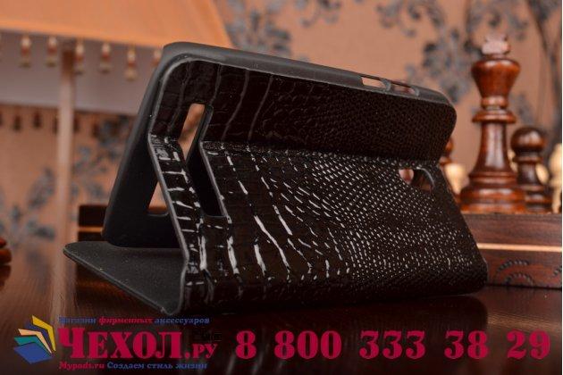 Фирменный роскошный эксклюзивный чехол с объёмным 3D изображением кожи крокодила для HTC Desire 500 Dual Sim черный. Только в нашем магазине. Количество ограничено