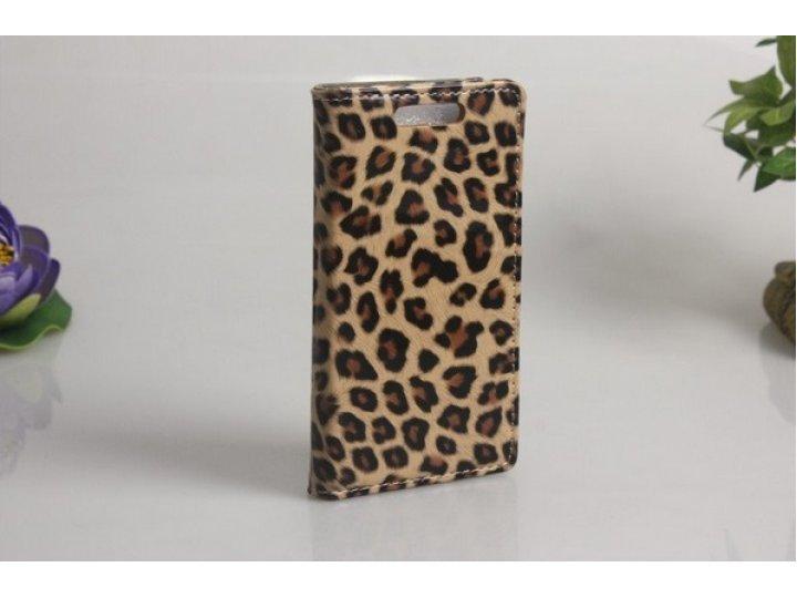 Фирменный оригинальный чехол-книжка для HTC Desire 501 Dual Sim леопард..