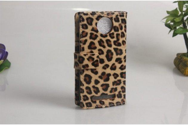 Фирменный оригинальный чехол-книжка для HTC Desire 501 Dual Sim леопард