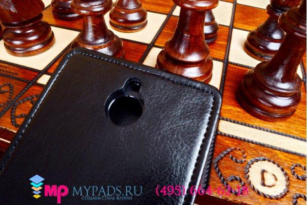 Фирменный оригинальный вертикальный откидной чехол-флип для HTC Desire 510 черный кожаный