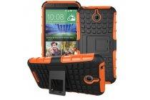Противоударный усиленный ударопрочный фирменный чехол-бампер-пенал для HTC Desire 520 оранжнвый
