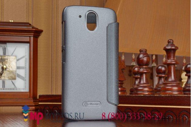 Фирменный оригинальный чехол-книжка для HTC Desire 526/ 526 Dual Sim/ 526 G+ черный кожаный с окошком для входящих вызовов