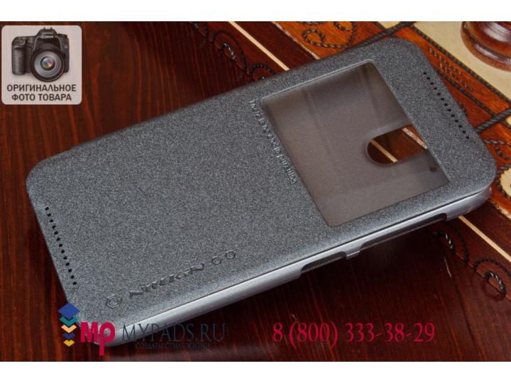 Фирменный оригинальный чехол-книжка для HTC Desire 526/ 526 Dual Sim/ 526 G+ черный кожаный с окошком для вход..