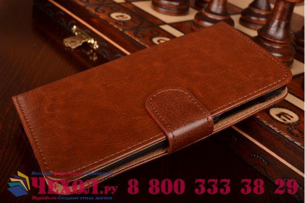 Фирменный чехол-книжка из качественной импортной кожи с мульти-подставкой застёжкой и визитницей для HTC Desire 526/ 526 Dual Sim/ 526 G+ коричневый