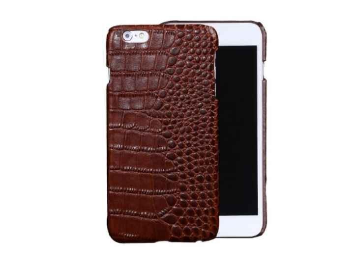 Фирменная роскошная эксклюзивная накладка с объёмным 3D изображением рельефа кожи крокодила коричневая для HTC..