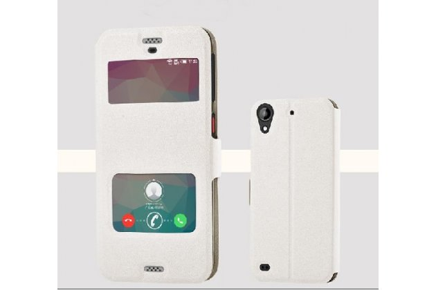 """Фирменный чехол-книжка для HTC Desire 530 / Desire 630 Dual SIm ( LTE 4G / 530U / EEA) 5.0"""" белый с окошком для входящих вызовов и свайпом водоотталкивающий"""