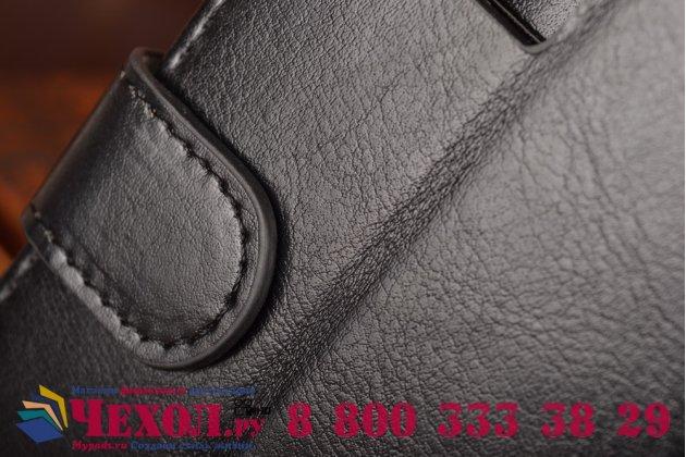 Фирменный чехол-книжка из качественной импортной кожи с подставкой застёжкой и визитницей для HTC Desire 600 Dual sim черный