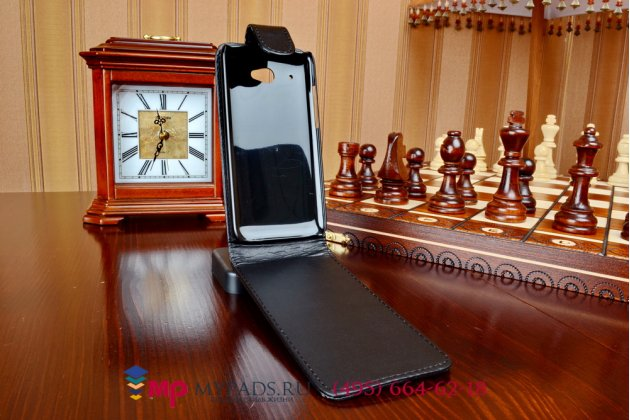 Фирменный вертикальный откидной чехол-флип для HTC Desire 601 Dual Sim черный кожаный